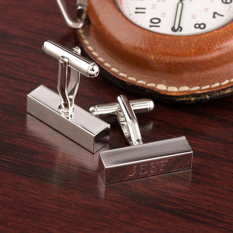 Rhodium Bar Cufflinks