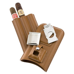 Personalized Triple Cigar Holder with Lighter & Cutter in Tan
