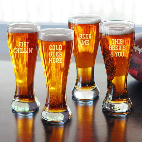 Personalized Cold Beer Here Pilsners (Set of 4)