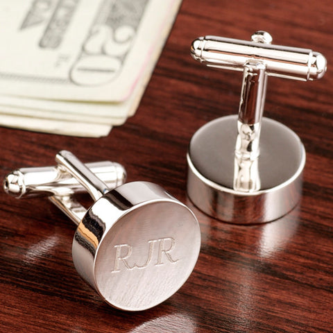 Rhodium Round Cufflinks