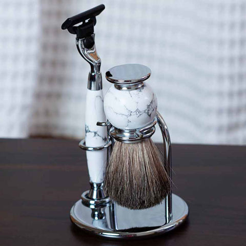 Monterey Personalized Chrome and White Stone Shave Set