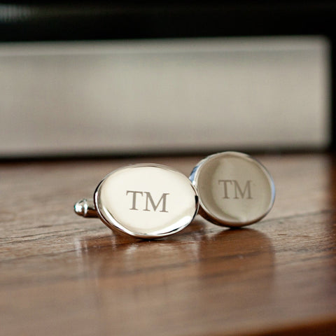 Rhodium Oval Cufflinks