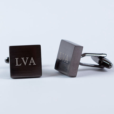Brushed Gunmetal Square Cufflinks