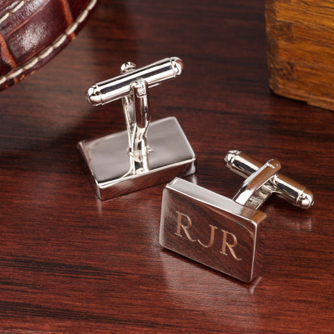 Rhodium Rectangle Cufflinks