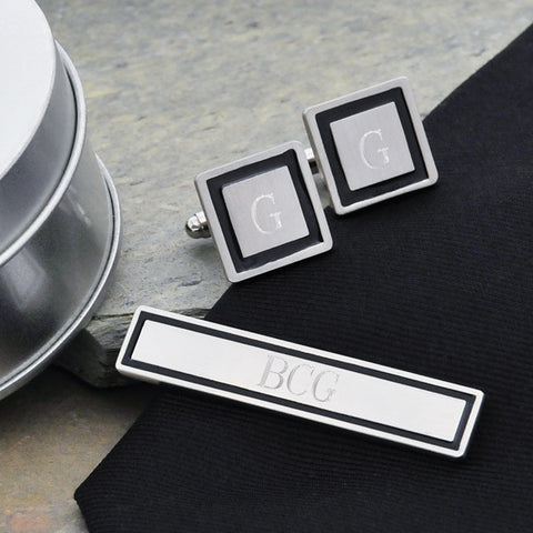 Personalized Black Border Cuff Links & Tie Clip Set