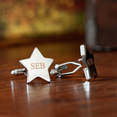 Rhodium Star Cufflinks
