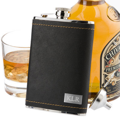 The Stitched Leather Flask