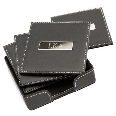 Personalized Square Leather Coasters with 2 inch Metal Plate