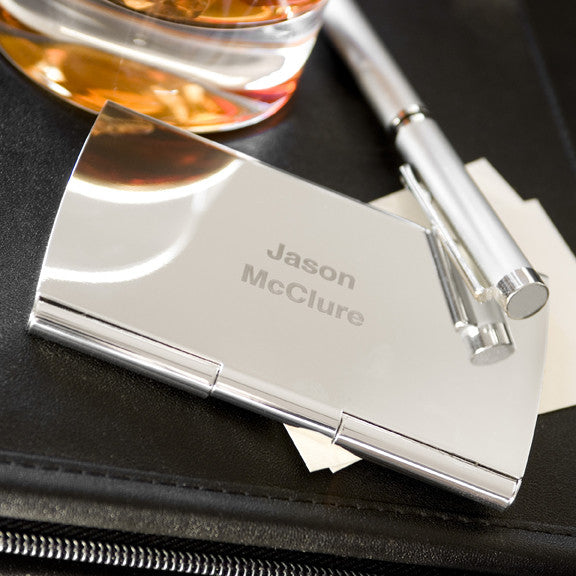 Personalized silver plated smooth business card case personalized colourmoves