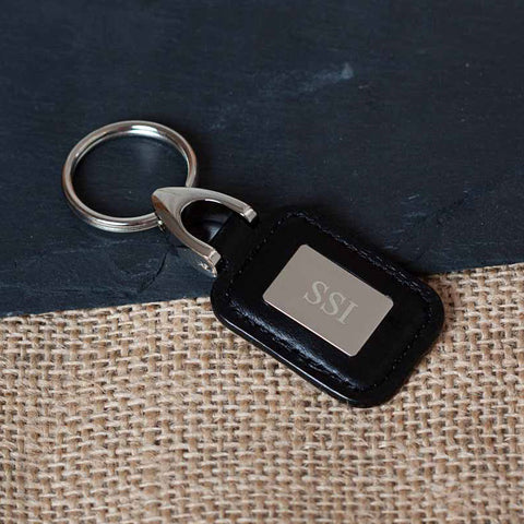 Personalized Lambert Black Leather Key Ring