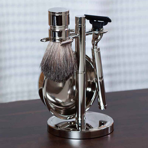 Haydon Engraved Chrome Shaving Set