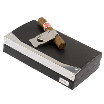 Leather and Stainless Steel Trimmed Humidor with Cutter