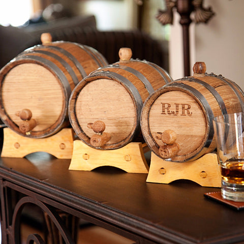 Personalized Mini Whiskey Barrel with Steel Bands