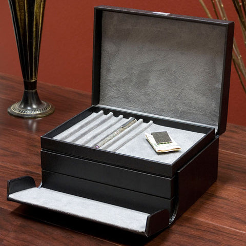 Black Leather Jewelry Chest