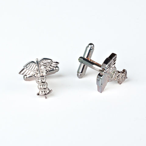 Rhodium Plated Caduceus Cufflinks with Engraved Box - for groomsmen