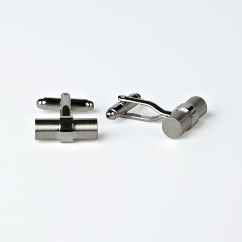 Rhodium Plated Cylindrical Cufflinks with Engraved Box