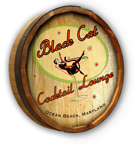 Personalized Black Cat Cocktail Lounge Quarter Barrel Sign