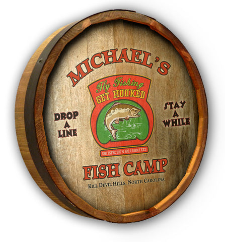 Personalized Fish Camp Quarter Barrel Sign