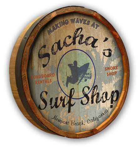 Personalized Surf Shop Quarter Barrel Sign