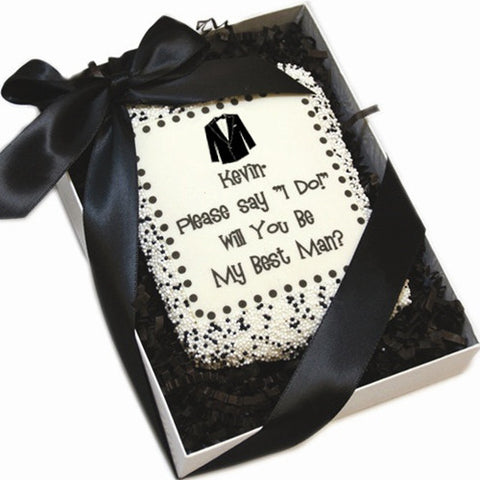 Personalized Say I Do! Will You Be My?-Edible Cookie Cards- Tuxedo Edition