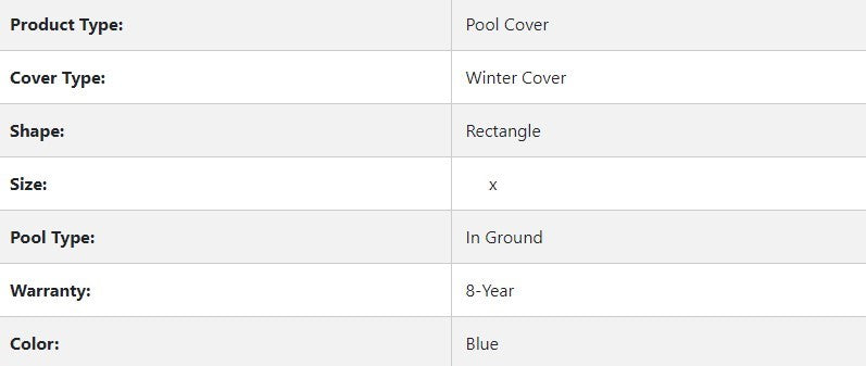 Leslie's - WinterShield Rectangle In Ground Winter Cover Specs