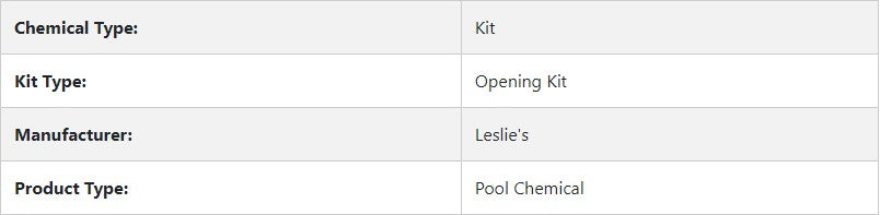 Leslie's - Opening Kits for Swimming Pools