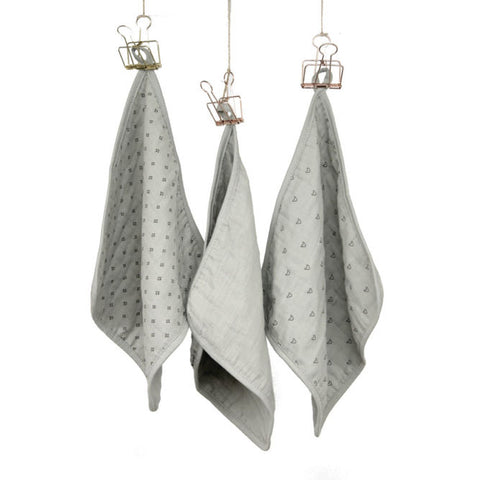 Wilder Garden wash cloth set (3 cloths) - Grey