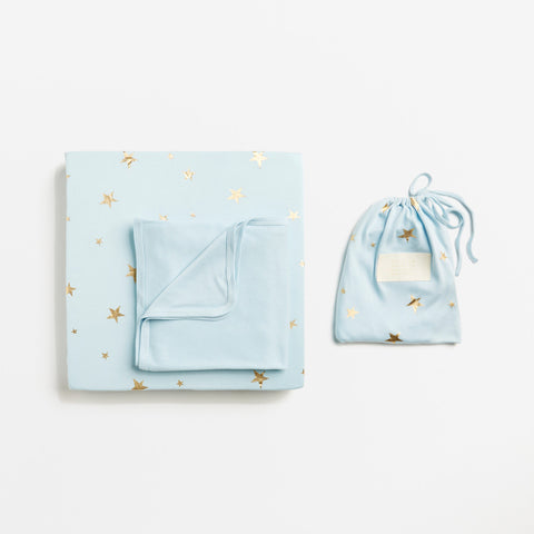 Starburst Ice Blue Bassinet & Cot Sheet Sets