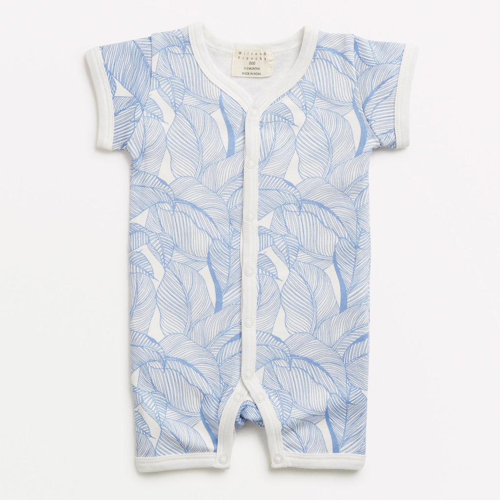 Baby short sleeve grow suit blue into the jungle