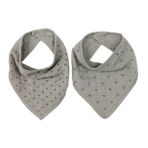 Wilder Garden Grey muslin dribble bib set of 2
