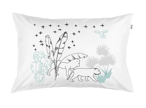 Crossing the Jungle 3 colour hand printed pillowcase