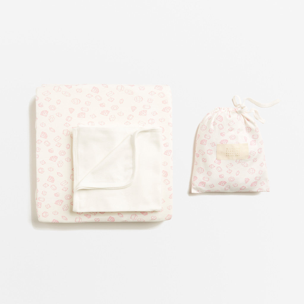 Little Gem bassinet and cot sheet sets for baby.  100% cotton.  Wilson & Frenchy