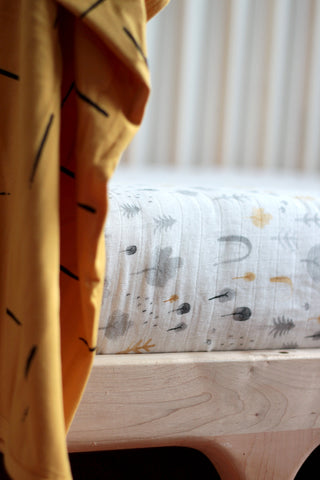 Woodland Muslin Cot Sheet by Burrow and Be