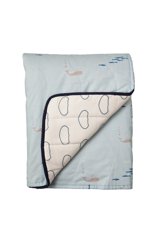 Children's Organic Cotton Cot Quilt Whale of a Time Blue