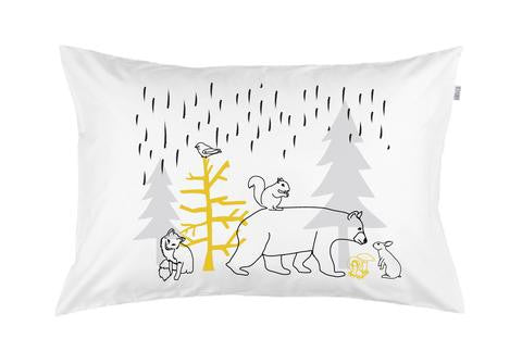 Woodland Dash 3 colour hand printed pillowcase