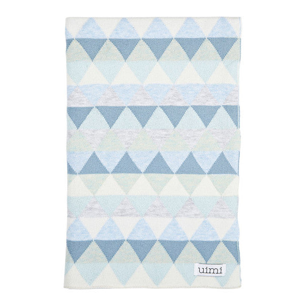 Children's organic cotton cot blanket for baby gift - Uimi Bindi Sky Blue