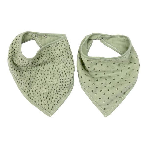 Wilder Garden Sage muslin dribble bib set of 2