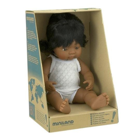Miniland Anatomically Correct Baby Doll - 38cm Hispanic
