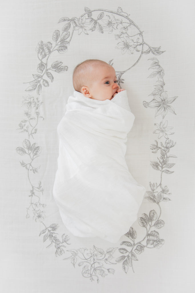 wreath muslin fitted cot sheet by Burrow and be