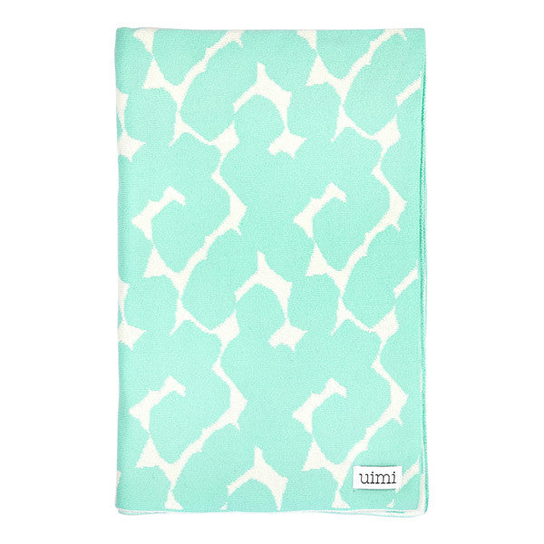 Children's Organic Cotton Cot Blanket for Baby Gift - Uimi Petal Mint Green