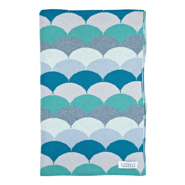 Children's Organic Cotton Cot Blanket for Baby Gift - Uimi Phoenix Green Blue
