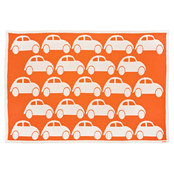 Children's Cotton Cot Blanket for Baby Gift Traffic Jam Blanki Orange