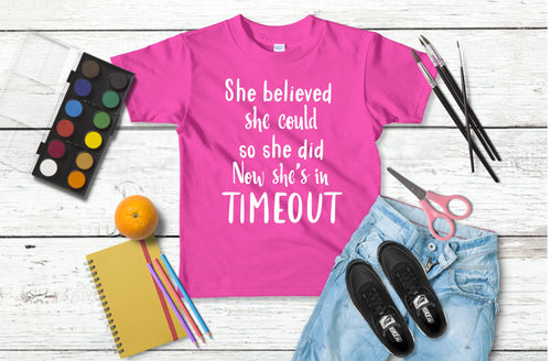 Girls timeout tee; Girls tshirt;
