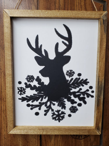 deer canvas, Christmss wall hanging, holiday decoration