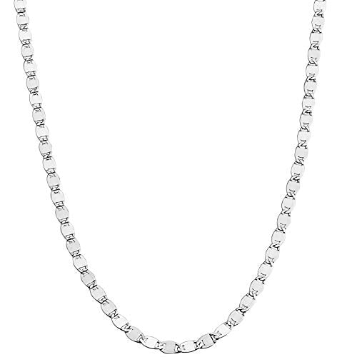 Miabella 925 Sterling Silver Italian Sparkle Mirror Link Chain Necklace for Women Teen Girls, 13