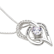 Load image into Gallery viewer, ALOV Jewelry Sterling Silver I Love You to The Moon and Back Love Heart Cubic Zirconia Pendant Necklace