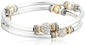 NINE WEST Tri-Tone and Crystal Set of 2 Bangle Bracelet: Jewelry