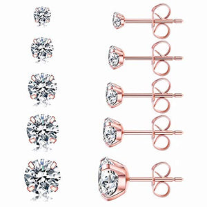 5 Pairs Stud Earrings Set, Hypoallergenic Cubic Zirconia 316L Earrings Stainless Steel CZ Earrings 3-8mm, Rose Gold (Rose gold)