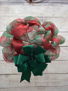 Red and Green Wreath, Christmas wreath, wreath for front door, window, wall