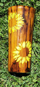 Woodgrain sunflower tumbler, Woodgrain stainless steel tumbler, customized tumbler